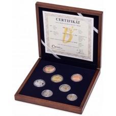 Sada oběžných mincí ČR 2015 PROOF ve dřevě - číslovaná - Certifikát