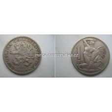 1 Kčs 1937 0/1 Koruna Československá 1Kčs